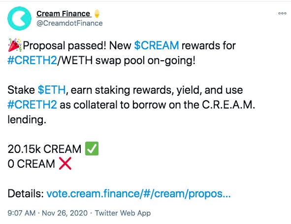 Cream Finance:已上线CRETH2/ WETH池的CREAM奖励