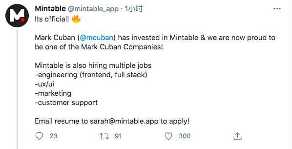 NFT交易平台Mintable获得NBA独行侠队老板马克·库班的投资