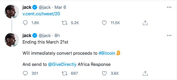 Twitter CEO首条推文NFT将于3月21日结束拍卖,拍卖所得将兑换为BTC并捐给慈善组织
