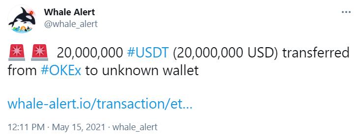2000万枚USDT从OKEx 转入未知钱包