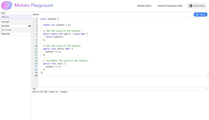 介绍 Motoko Playground,一个互联网计算机的在线开发环境